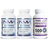 MAAC10 NMN & Resveratrol NAD Booster Combo Pack - Nicotinamide Mononucleotide NAD+ Supplement 250mg (60 x 125mg Capsules 2 Bottles) 99% Pure Trans Resveratrol Extract (60 x 250mg Capsules 1 Bottle).