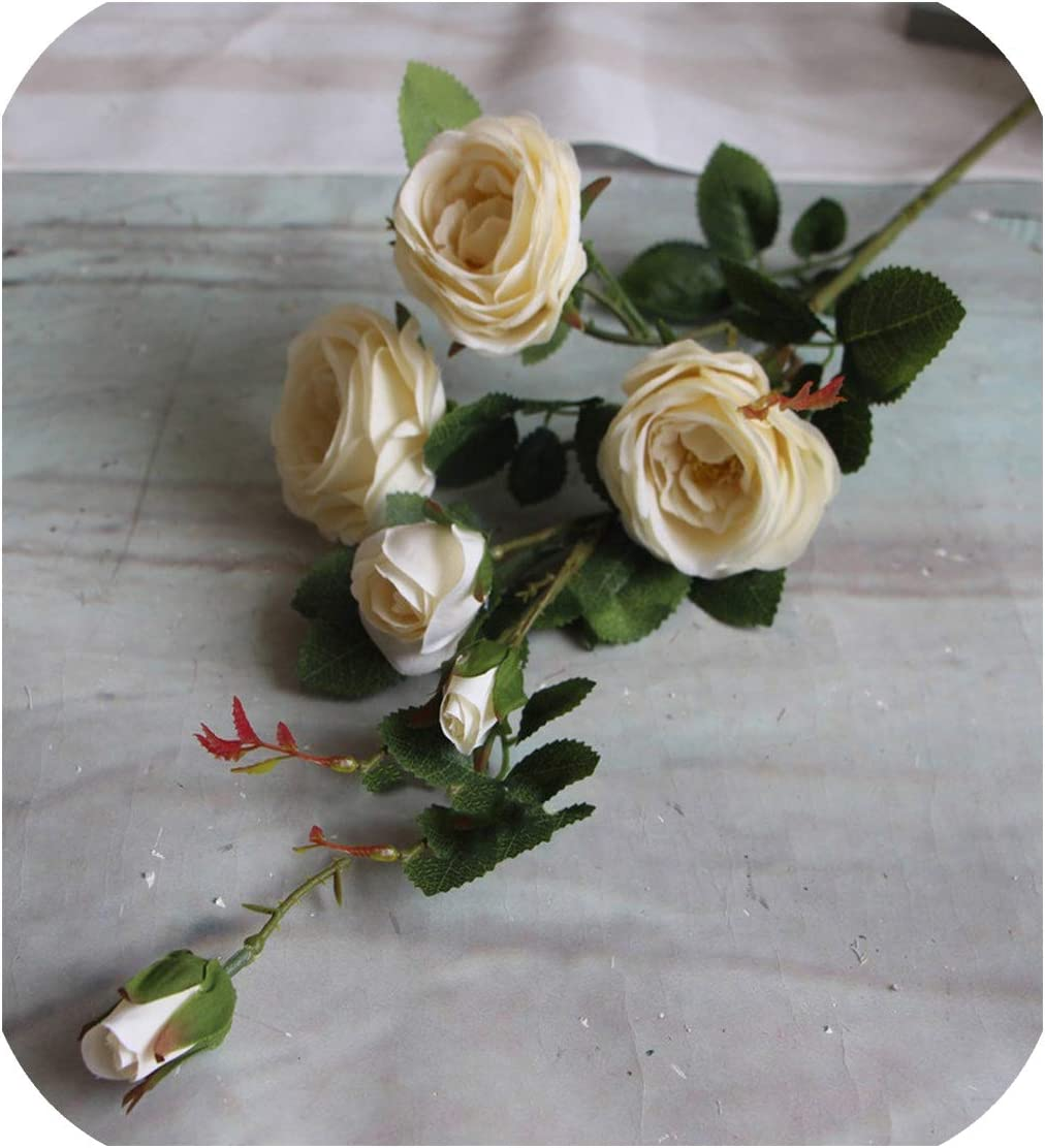 94cm 6 Heads French Romantic Colorful Silk Artificial Flowers Rose DIY Wedding Home Garden Office Decor Flores artificiales,White