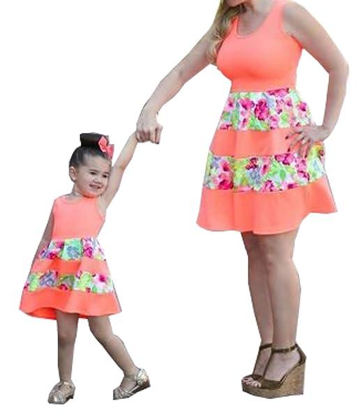 Minetom Verano Casual Madre e Hija Vestidos Acogedor Sin Mangas Impresión Moda Falda Midi Vestido Familia Fiesta Partido de Tarde: Amazon.es: Ropa y ...