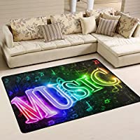 Naanle Music Note Area Rug 2x3, Colorful Word Music Polyester Area Rug Mat for Living Dining Dorm Room Bedroom Home Decorative