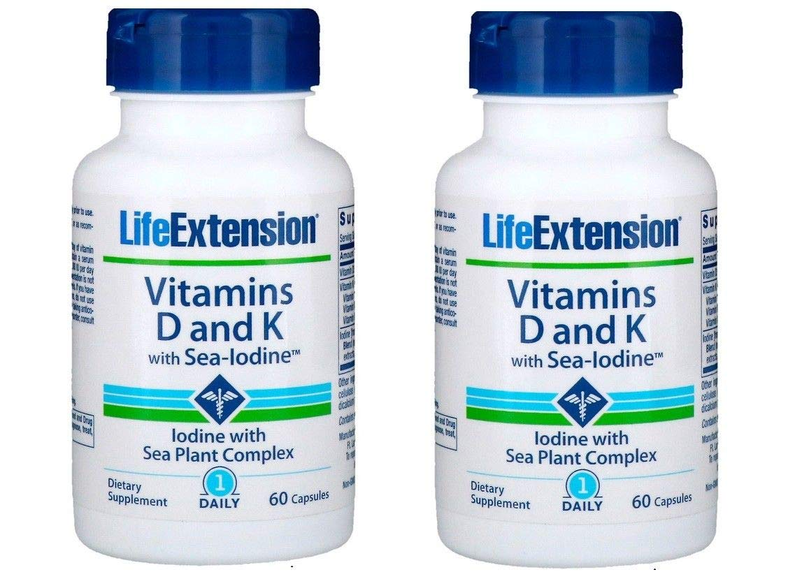 Life Extension, 2 Pack Vitamins D and K with Sea-Iodine, 60 Capsules
