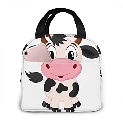 PrelerDIY Cute Cartoon Milk Cow Lunch Box Insulated Meal Bag Lunch Bag Reusable Snack Bag Food Container For Boys Girls Men Women School Work Travel Picnic: Kitchen & Dining