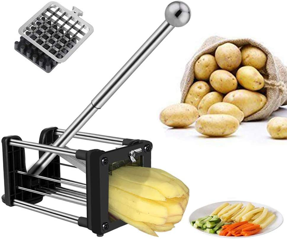 French Fry Cutter, Professional Potato Chipper with Extended Handle, Vegetable Slicer Chopper with 2 Replacement Blades and Non-Slip Feet (French fry cutter)