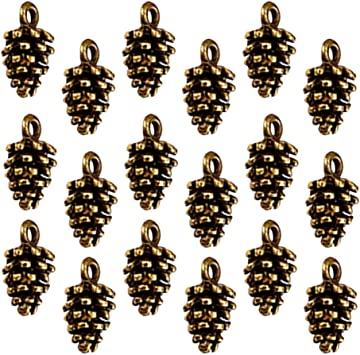 50x Christmas Pine Cone Charms Pendants Jewelry Making Accessories Findings