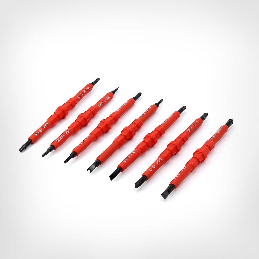 MINHER 7 PCS Destornilladores fijados Magnético fuerte Aislamiento 500V Aislado electricista destornillador caja Q00520