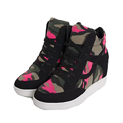 53754f8b92cc Women s Girl s High Top Camouflage Casual Canvas Sneakers Wedge Hidden Heel  Shoes (5.5