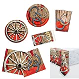 Unique Rodeo Western Party Bundle | Luncheon & Beverage Napkins, Dinner & Dessert Plates, Table Cover, Cups | Great for Cowboy/Texas/Rustic/Wild West Birthday Themed Parties