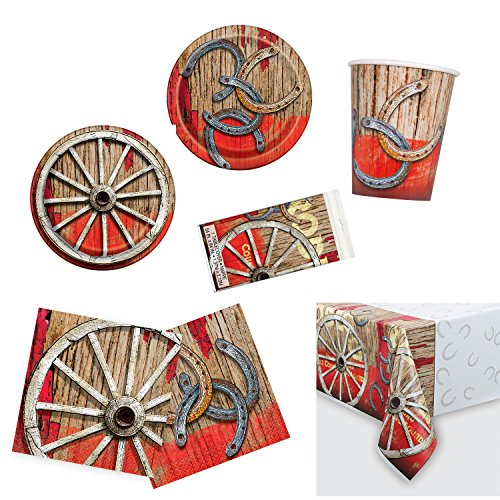 Unique Rodeo Western Party Bundle | Luncheon & Beverage Napkins, Dinner & Dessert Plates, Table Cover, Cups | Great for Cowboy/Texas/Rustic/Wild West Birthday Themed Parties by Unique