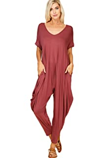 4f136b94de4d Annabelle Women s Comfy Casual Short Sleeves Harem Long Pants Jumpsuits  with Pockets