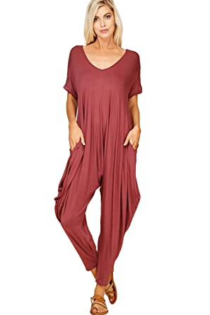 b67f4f7ef455 Annabelle Women s Plus Size Comfy Casual Short Sleeves Harem Long Pants  Jumpsuits With Pockets X-