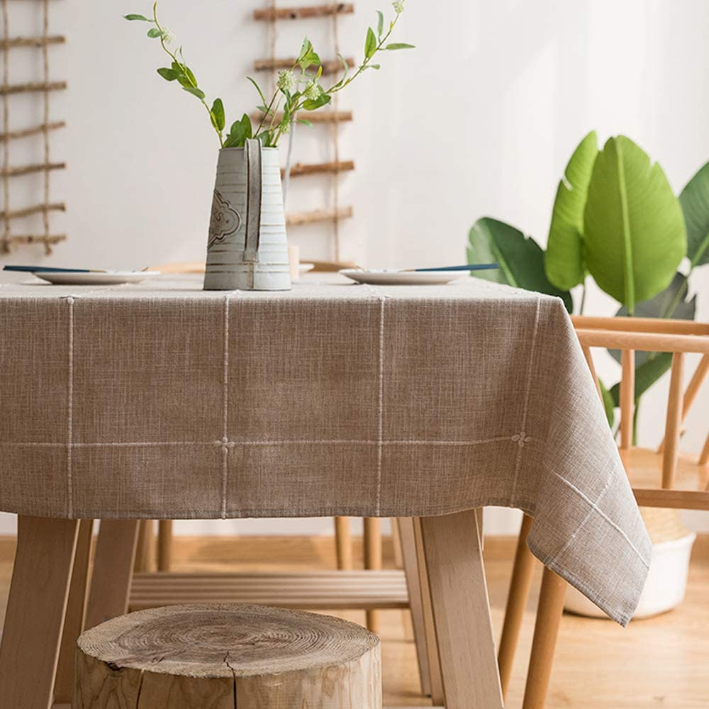 LINENLUX Striped Cotton Linen Tablecloth/Table Cover with Tassel Coffee Grid Rectangle/Oblong 55 X 86 in