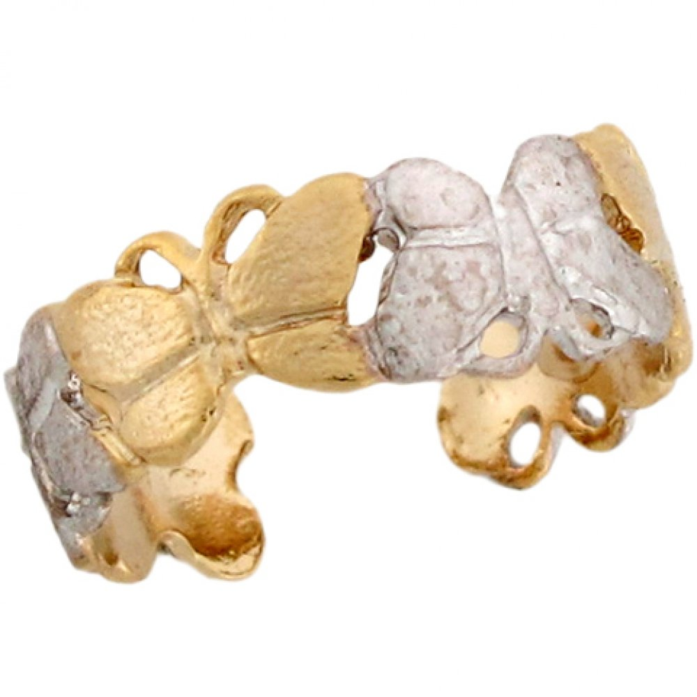 Two-Toned 14k Real Gold Butterfly Wrap Around Band Ladies Toe Ring