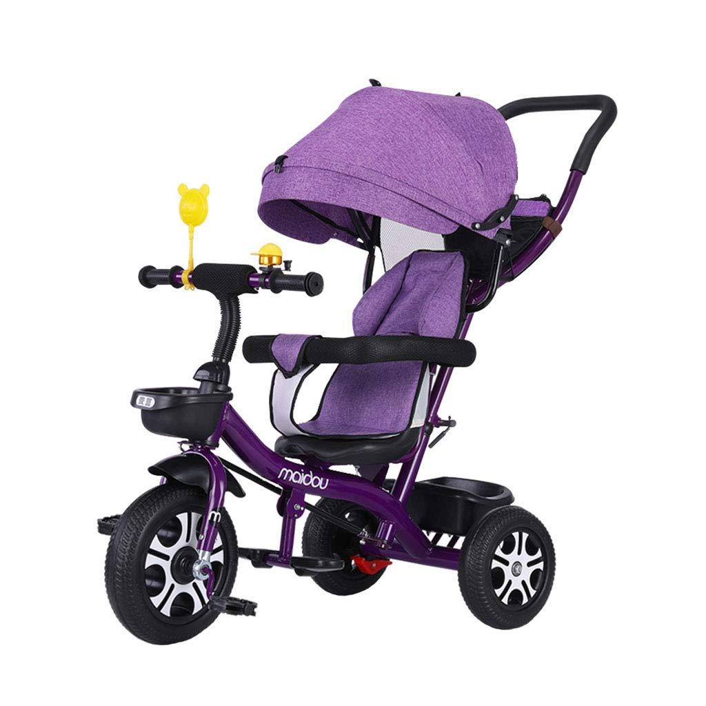 Bicicletta a 3 Ruote per Bambini per 1-3-6 Anni (Ragazzo Ragazza) Baby Bike Pieghevole Multifunzione 3 in 1 Triciclo per Bambini Recinto di Sicurezza Tendalino Trike per Bambini   Viola
