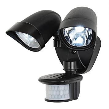 Black outdoor pir twin spot led security wall light walkway light black outdoor pir twin spot led security wall light walkway light mozeypictures Choice Image