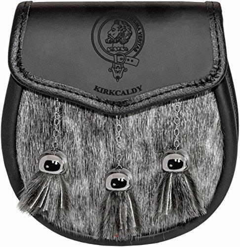 Kirkcaldy Semi Sporran Fur Plain Leather Flap Scottish Clan Crest