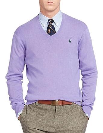 e53375a704ae1a Polo Ralph Lauren Men's Pima Cotton V-Neck Sweater (X-Large, Purple) at Amazon  Men's Clothing store: