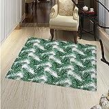 "Leaf Dining Room Home Bedroom Carpet Floor Mat Palm Mango Banana Tree Leaves in Tropical Wild Safari Island Jungle Image Artwork Non Slip Rug 55""x63"" Forest Green"