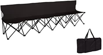 Great Portable 6 Seater Folding Team Sports Sideline Bench With Back By Trademark  Innovations (Black