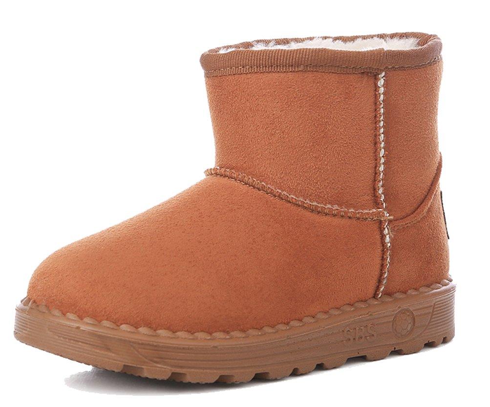 iDuoDuo Kids Wearproof Suede Short Boots Fur-Lined Frosty Warm Snow Boots Brown 4.5 M US Big Kid
