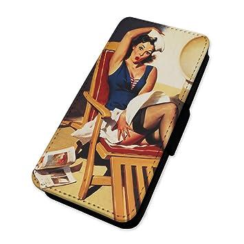 Retro Sexy chica Pin Up - Funda con tapa tipo cartera funda tarjeta soporte Sony Xperia Z3 Compact: Amazon.es: Electrónica
