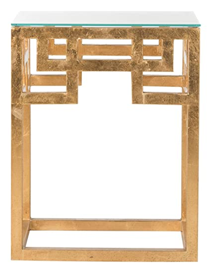 Amazoncom Safavieh Home Collection Byram Greek Key Gold Glass Top