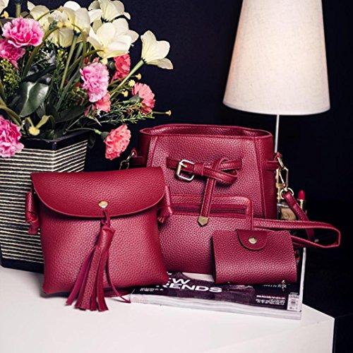 Main 4Pcs Féminine Litchi Bag Carte Femmes Mode Fourre Motif cuir Motif Messenger En Cuir Rouge Sac Grande à A Portefeuille Moonuy Paquet en Affair Wallet Capacité de Sac Bandoulière tout 0dwqT6a