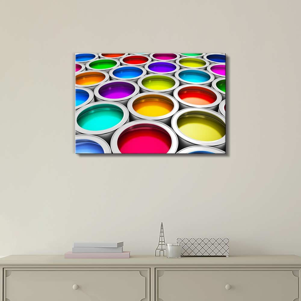 d2b3300aab Canvas Art. Abstract Creativity Concept Group of Tin Metal Cans with Color  ...