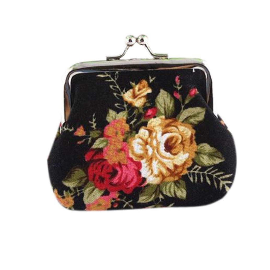 Pocciol Women Canvas Retro Vintage Flower Small Soft Wallet Hasp Purse (Black)
