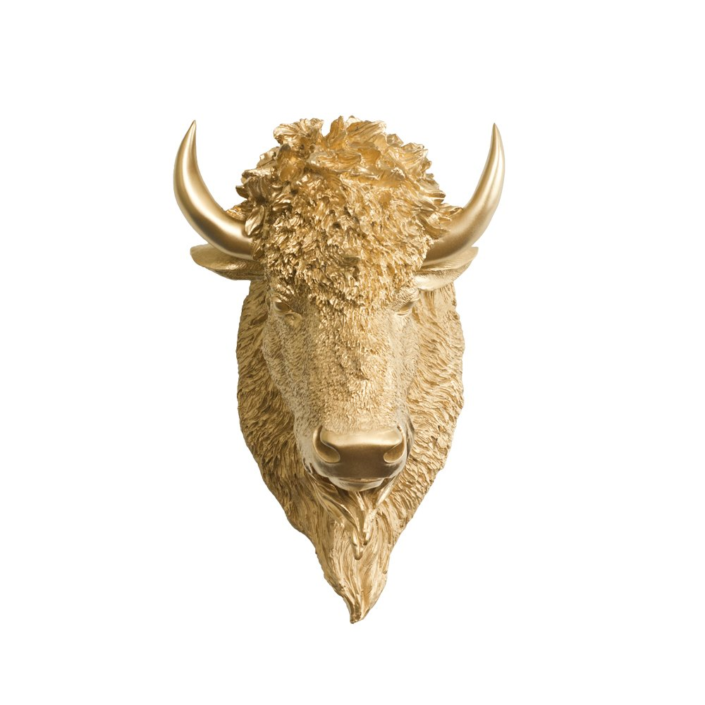 Wall Charmers Bison in Gold - Faux Head Bust Taxidermy - Resin Animal Replica Fake Fauxidermy Mounted Decor Decorative Mount Art