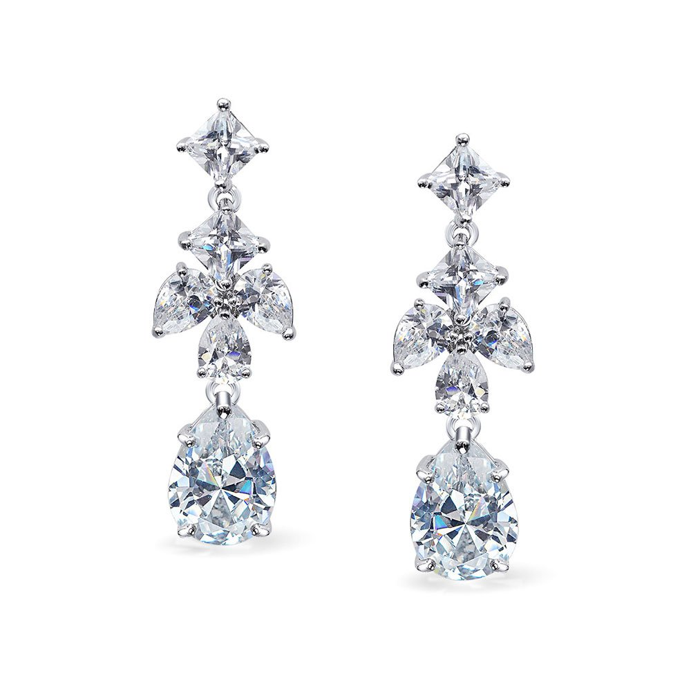 928bcfee46f8a Bridal Cubic Zirconia CZ Leaf Marquise Teardrop Prom Pageant Statement  Chandelier Earrings For Women Silver Plated Brass