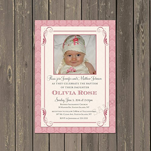 Baptism or Christening Invitation in Pink and Cream Damask with Photo, Set of 10 invitations with white envelopes (Baptism Invitation Damask)