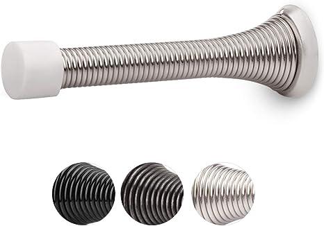 3-1//8 Steel Made in Taiwan Brush Nickel 3 Pack QCAA Flexible Spring Door Stop Bumper