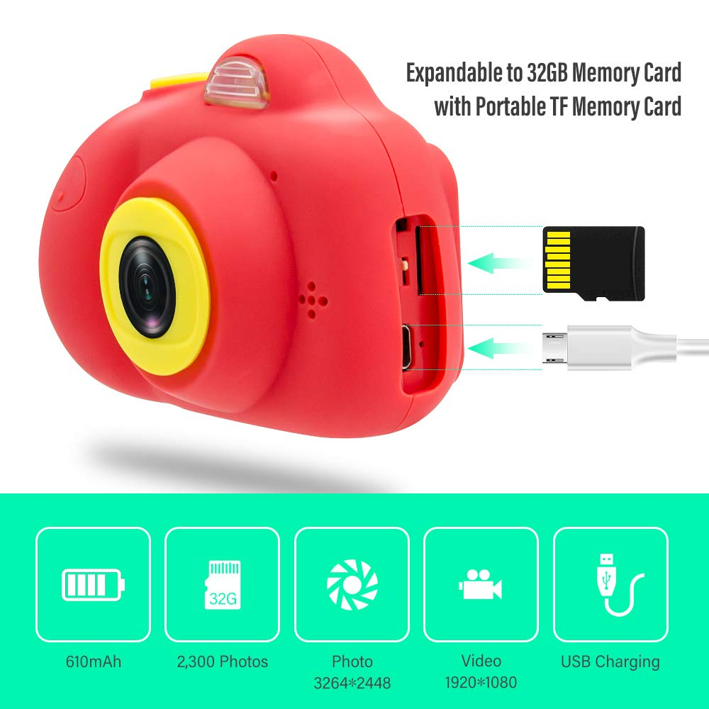 [16GB Memory Card Included] Veroyi Kids Camera 8.0MP Rechargeable Digital Front and Rear Selfie Camera Child Camcorder, Toys Gift for 4-10 Years Old Boys and Girls (Red) by Veroyi (Image #3)
