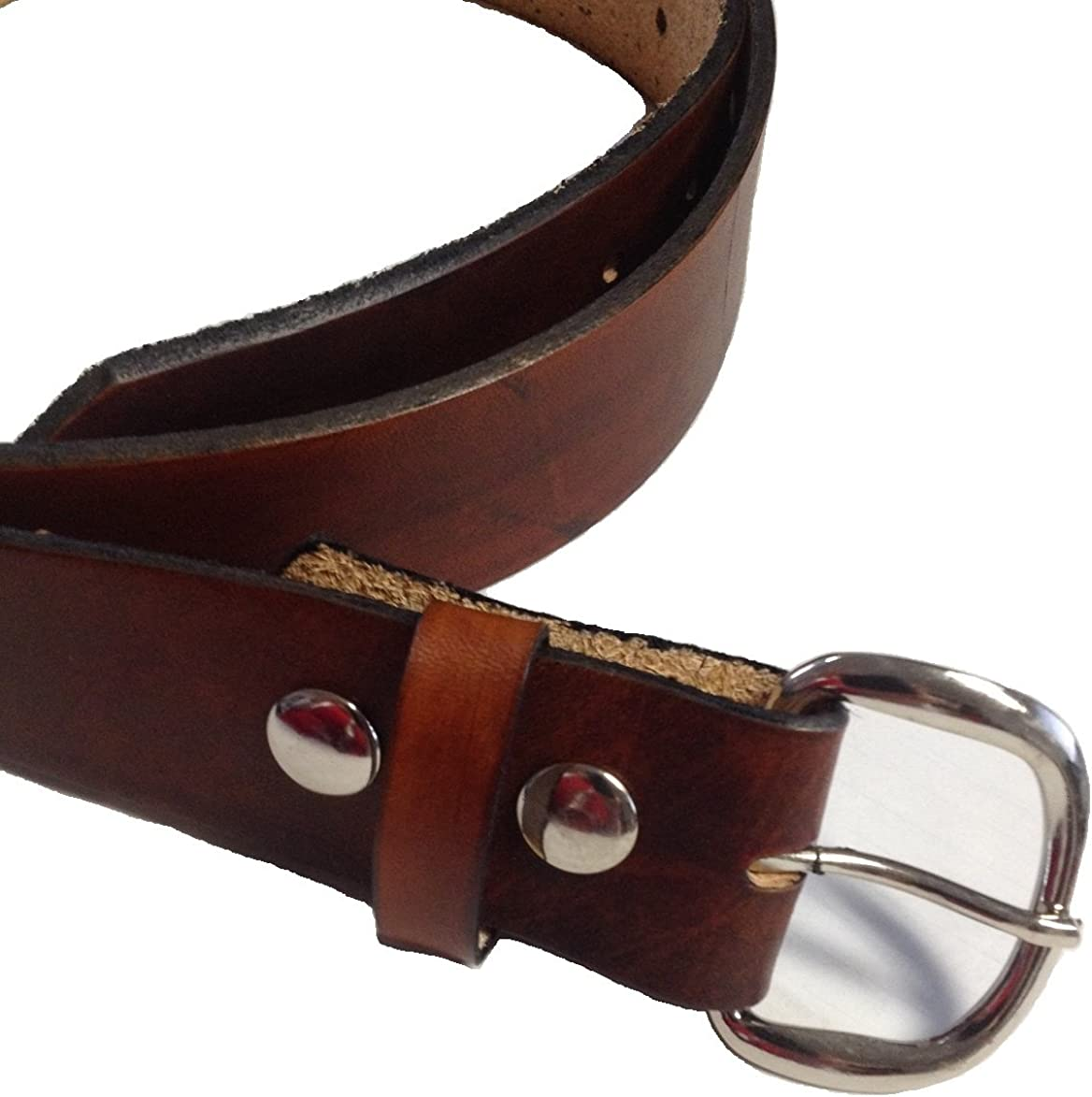 Handmade Mens Leather Belt Brown Western Work Casual Belt 1.5 Wide