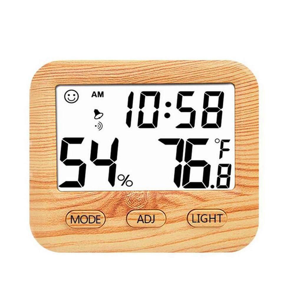100g Thermometre Electronique,Thermom/ètre En Bois Thermom/ètre Int/érieur /Écran LCD Et R/étro/éclairage Blanc Capteur Pr/écis Pour Mesurer La Temp/érature Et Lhumidit/é De La Pi/èce
