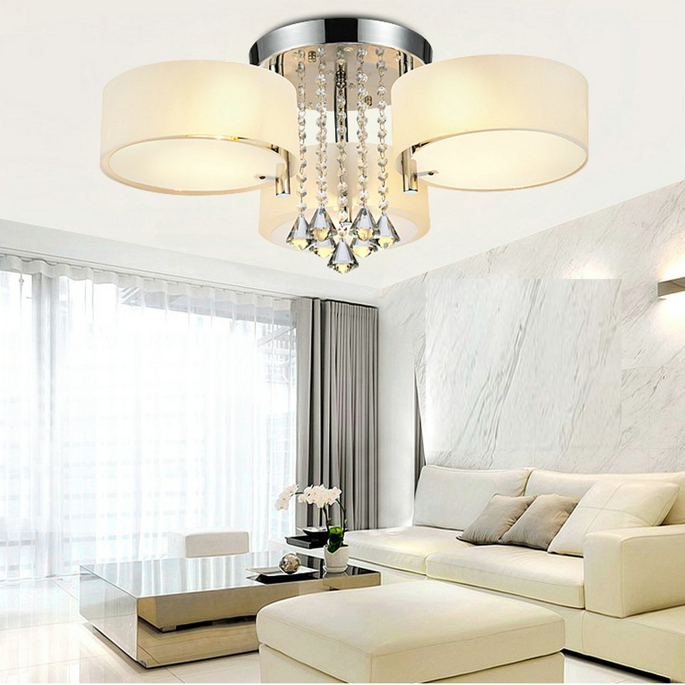 DINGGUTM Flush Mounted 3 Light Chrome Finish Modern Chandelier ...