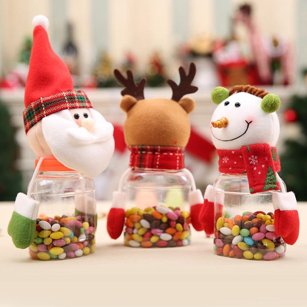 VANKER Navidad muñeco de nieve Santa Claus Elk Doll Gifts Box Candy Holder Storage Bottle color muñeco de nieve: Amazon.es: Hogar