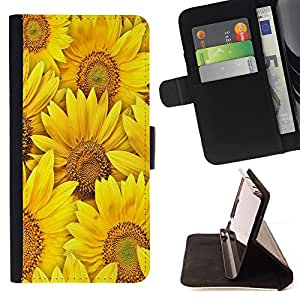 Dragon Case- Caja de la carpeta del caso en folio de cuero del tir¨®n de la cubierta protectora Shell FOR Apple Iphone 5C- Sunflower Sun flower
