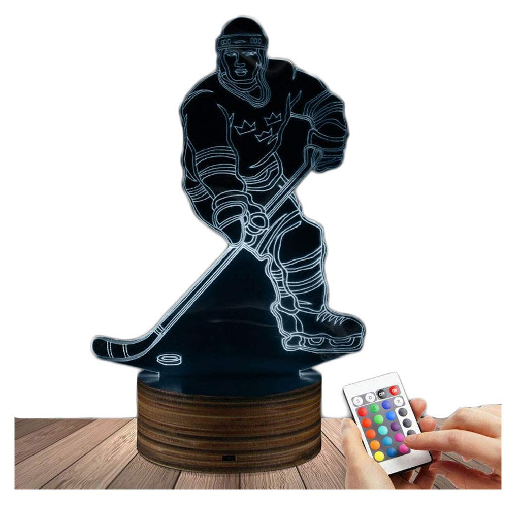 Novelty Lamp, 3D LED Lamp Hockey Player Optical Illusion Night Light, USB Powered Remote Control Changes The Color of The Light, Ideal Gift for Children's Friends and Family,Ambient Light