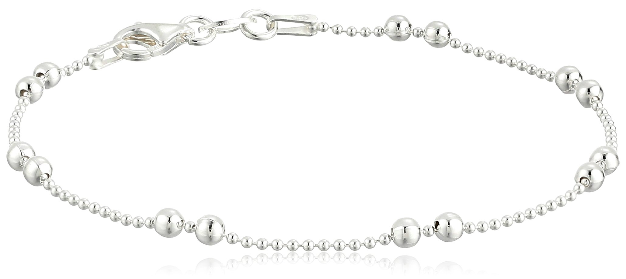 Sterling Silver Tarnish Free Shot Bead Bracelet with Double Bead Stations, 7.5'' by Amazon Collection