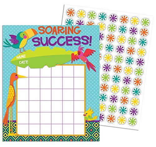 Eureka Back to School You Can Toucan 'Souring Success' Mini Reward Charts for Kids with Stickers, 5'' W x 6'' H
