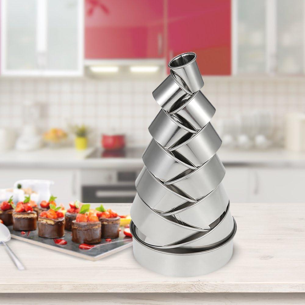 torta di frutta e cioccolato con scatola di immagazzinaggio 12 Pezzi Decdeal Tagliabiscotti tondi in acciaio inossidabile per fondente fai-da-te