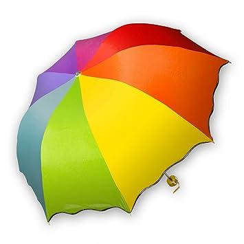 SoulCats® - Paraguas de bolsillos, color arcoíris pequeño, plegable, práctico, incluyendo