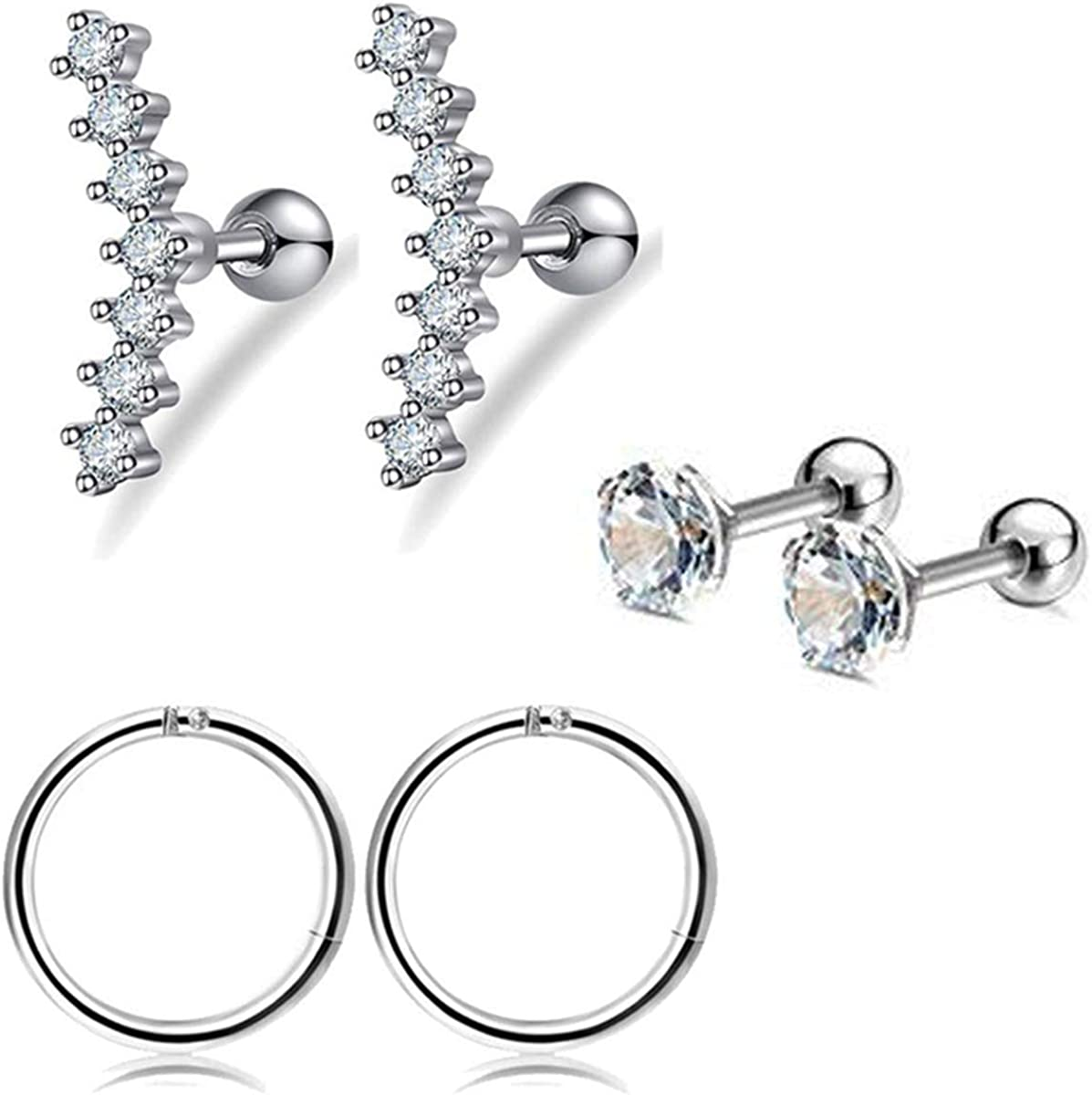 LOT 3 Pack Ear Cartilage Helix Tragus GREEN CZ Stud Ring Surgical Steel 16G