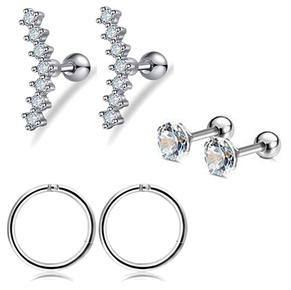 FIBO STEEL 16G Cartilage Tragus Earrings Set for Women Girls Helix Conch Daith Piercing Jewelry (B: 3 Pairs a Set) by FIBO STEEL