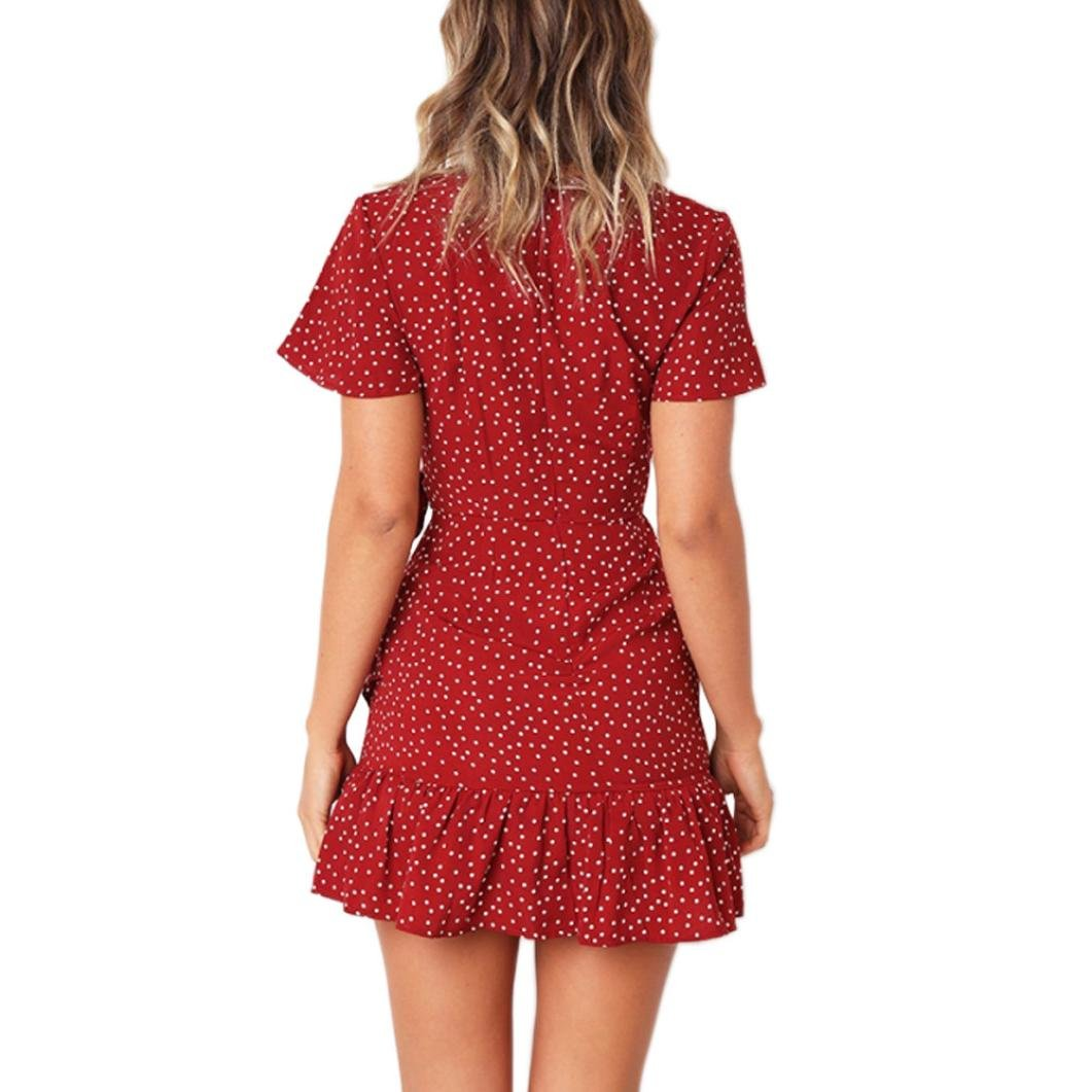 Jentouzz Polka Dot Dress, Women Summer V Neck Bow Ruffles Bohe Party Wrap Dress Mini Dress (L, Red) by Jentouzz (Image #2)
