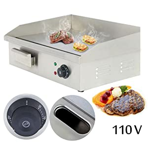 20'' Commercial Countertop Griddle - PROMOTOR Electric Griddle Tools Stainless Steel Electric Thermomate Grill BBQ Plate