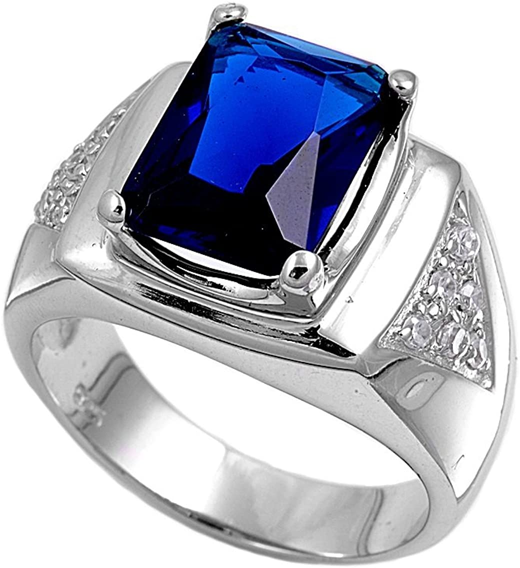 CloseoutWarehouse Princess Cut Simulated Sapphire Cubic Zirconia Ring Sterling Silver