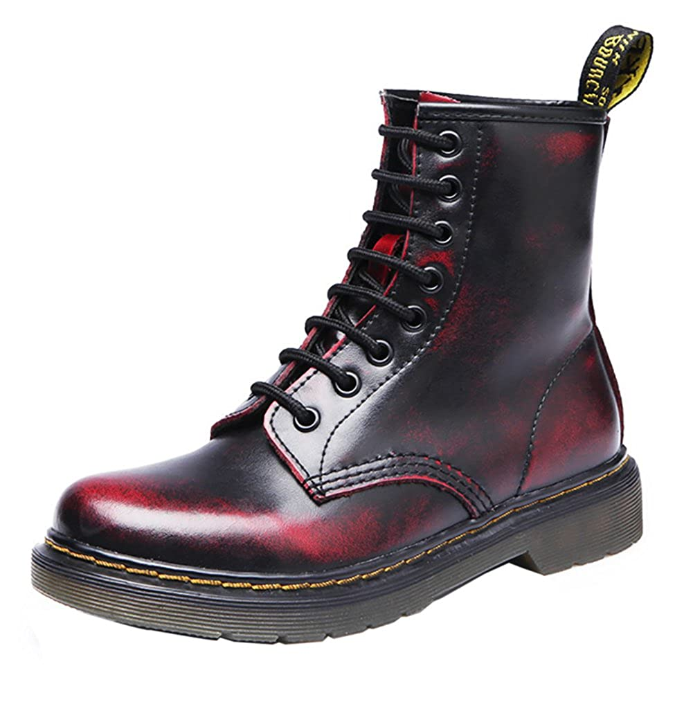 VOCOSI Women's Retro Cap-Toe Low Heels Ladies Leather Ankle Combat Boots