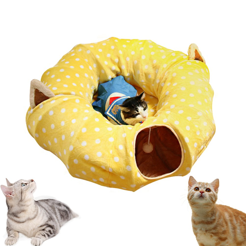 AUOON Cat Tunnel with Central Mat for Cat Dog, Soft Mink Cashmere and Full Moon Shaped, Length 98'' Diameter 9.8'', Yellow